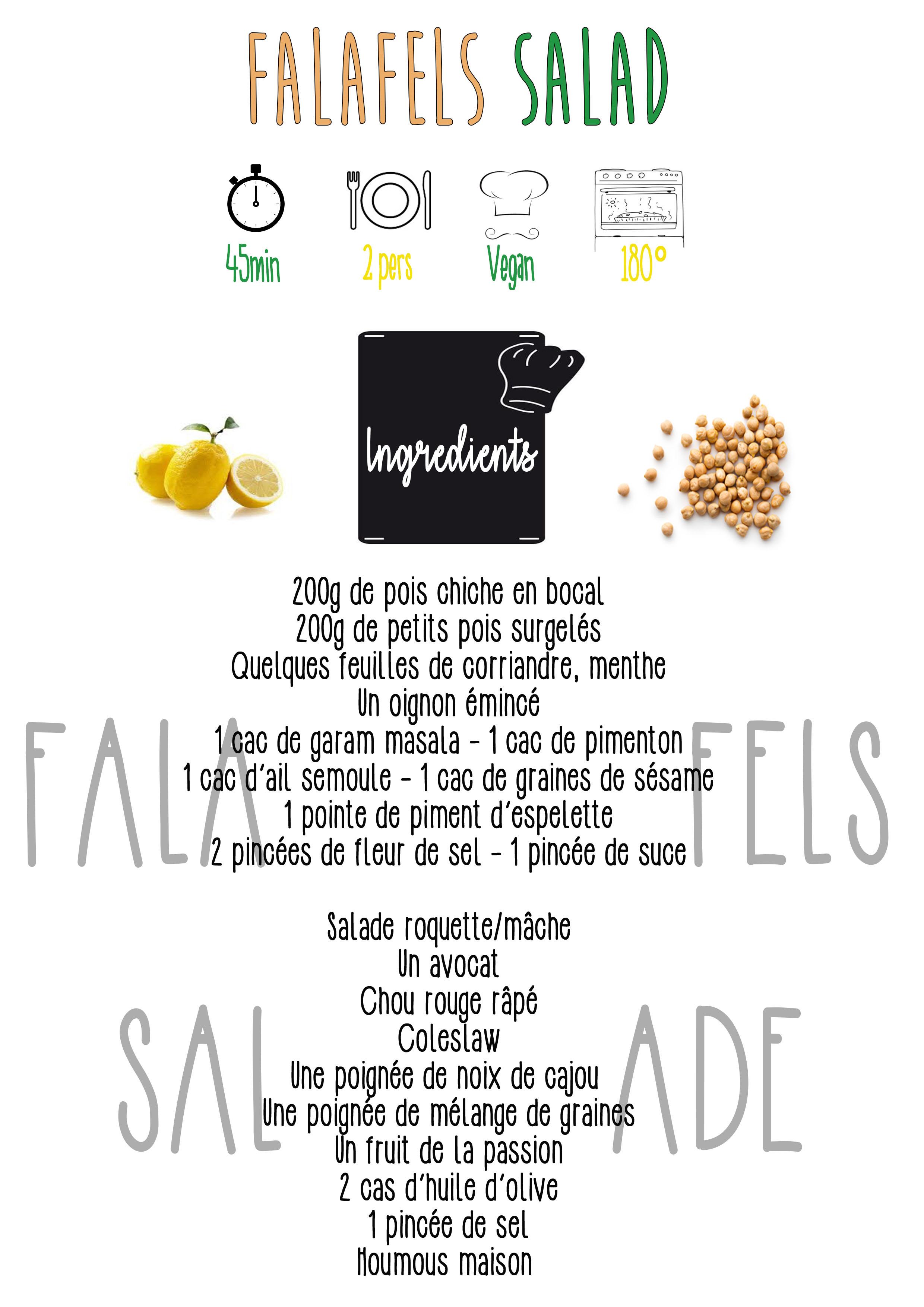 Falafels Salad ingrédients