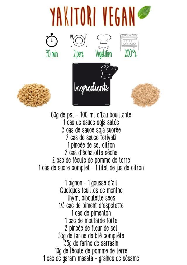 Yakitori vegan ingrédients
